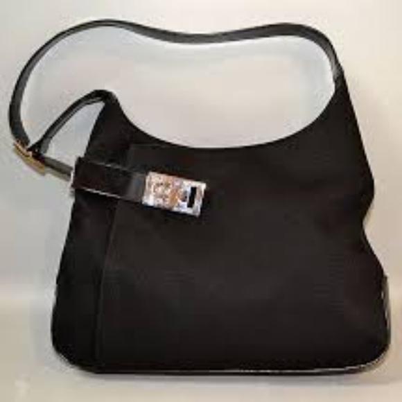 454ed4d3f3 Ferragamo Black Leather and Canvas Shoulder Purse.  M 5ad6663c46aa7c208ed89042